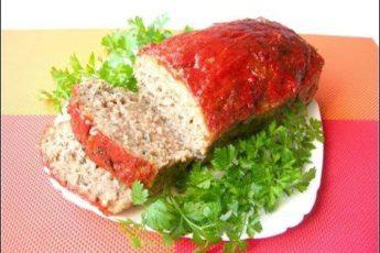Оригинальная закуска «Мясной хлеб» с грибами